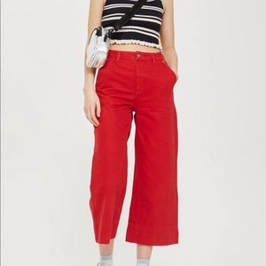 NWOT TopShop Red Culottes